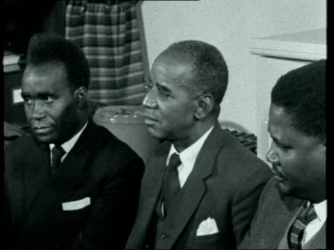 hastings banda press conference with kenneth kaunda and joshua nkomo ***also london hastings banda seated for press conference with kenneth kaunda... - joshua nkomo stock videos & royalty-free footage