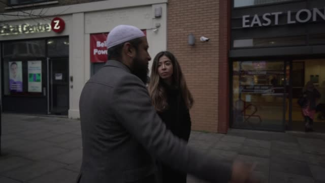 hate crime in london doubles over last 8 years; england: london: ext shams adduha muhammad along with reporter / interview sot - last stock videos & royalty-free footage