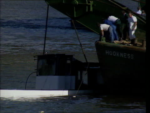 corporate manslaughter threat lib thames marchioness pulled from water by hookness recovery ship after accident in which 51 people died pull bv... - marchioness stock videos and b-roll footage