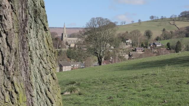 hathersage village & church, derbyshire, england, uk, europe - derbyshire stock videos & royalty-free footage
