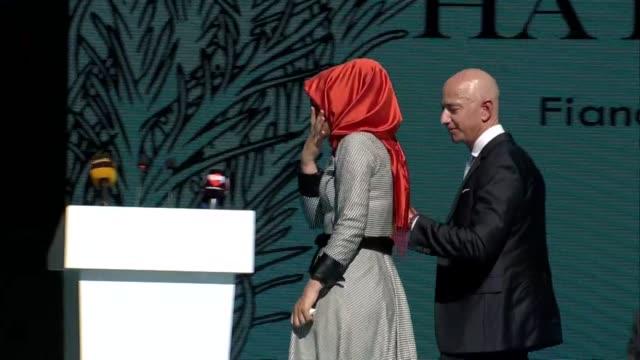 hatice cengiz fiancee of slain saudi journalist jamal khashoggi speaks during a memorial service held for khashoggi with the attendance of jeff bezos... - executive director stock videos & royalty-free footage