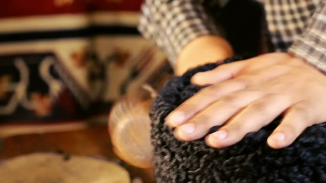 hat-maker works. hat making process. - milliner stock videos and b-roll footage