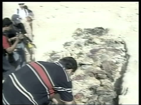 hatra mass grave site journalists looking at mass grave covered corpses in mass grave pul out onlookers human remains lying in grave clean feed tape... - mass grave stock videos and b-roll footage