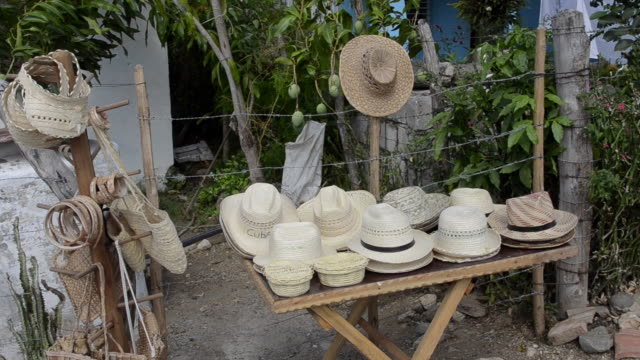 hats for sale for souvenirs trinidad cuba - sancti spiritus province stock videos and b-roll footage