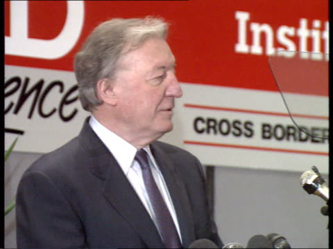 haughey visit 01 *cr2555 n 240 ls charles haughey enters hall to applause haughey speech talking about the european council and the future of europe... - southern european stock videos & royalty-free footage
