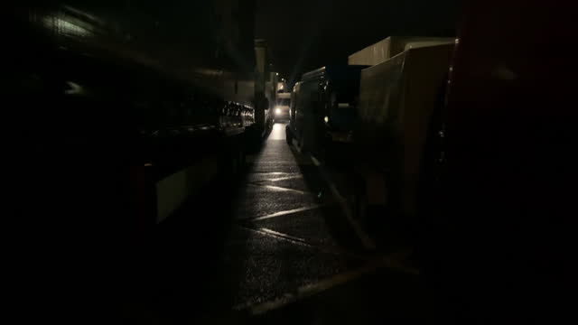 hauliers in dover protesting over coronavirus travel restrictions preventing them from reaching france - prevention stock videos & royalty-free footage