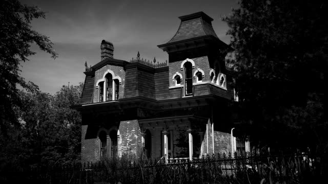 Haunted House Creepy Black and White