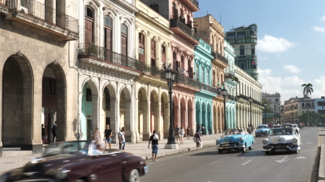 havana cars in the city center - cuba stock videos & royalty-free footage