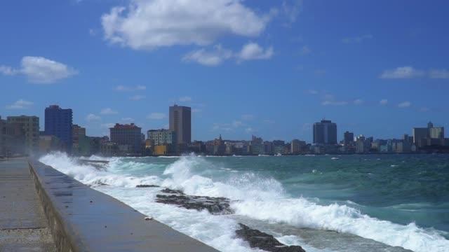 havana cityscape with el malecon, cuba - coastal road stock videos & royalty-free footage