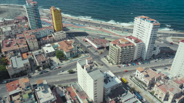 havana cuba aerial high point of view from the tallest lookout. skyline of the city with national hotel nacional, malecon and caribbean sea. filmed from focsa building in vedado district. - hotel nacional stock videos and b-roll footage
