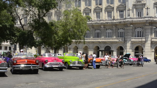 havana cuba habana central colorful old classic 1950's cars on display near capital for rental by tourists cuba today - motor show stock videos and b-roll footage