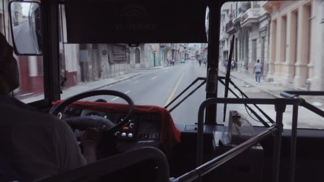 havana cuba inside a bus viewpoint - one mid adult man only stock videos & royalty-free footage