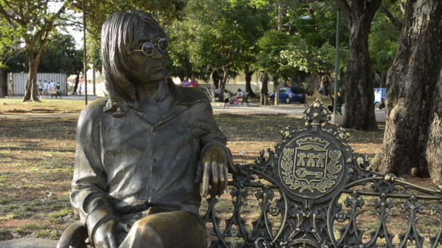 havana cuba peaceful park for the beatles at the john lennon park in vedado district of habana for peace - the beatles stock videos & royalty-free footage