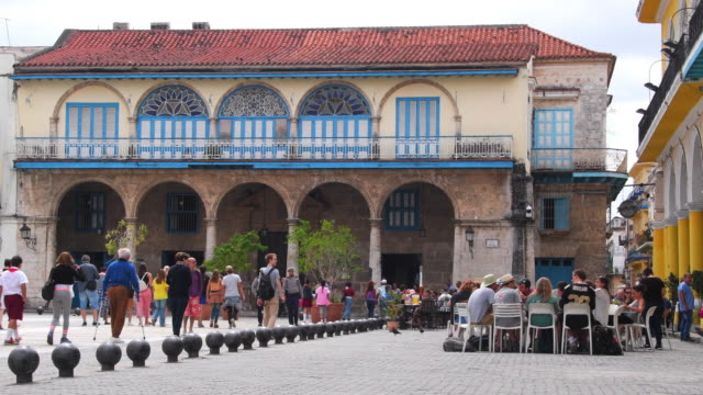 havana cuba: 'plaza vieja' or old plaza with colonial architecture buildings - plaza vieja stock videos and b-roll footage