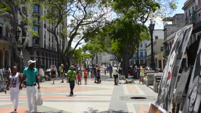 havana cuba prado city walk in center with art for sale and locals walking - drawing artistic product stock videos and b-roll footage