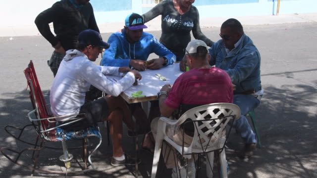 havana, cuba: real people playing dominoes in the shade of a city tree. the game is a popular recreation in the cuban capital city - dominoes stock videos & royalty-free footage