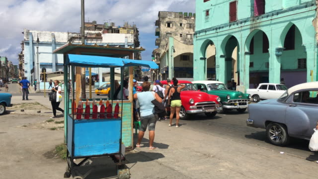 Havana Cuba: selling ice drink or slush on the sidewalk, private small business