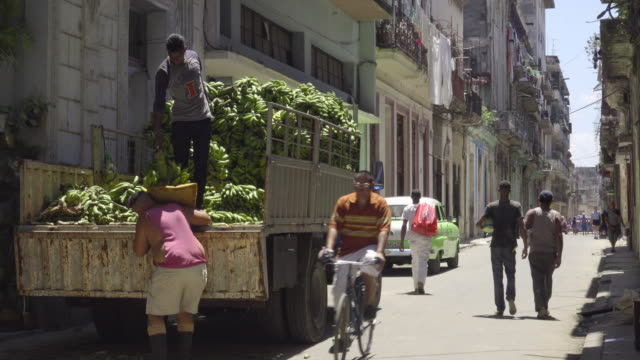 havana cuba truck full of banana / plantain being unloaded on the oldtown street. men working and local people walking on the street. - banana stock videos & royalty-free footage