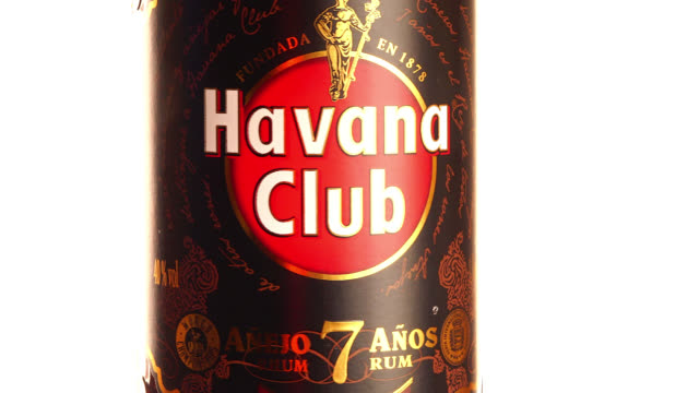 havana, cuba-august 10, 2020: havana, cuba-august 10, 2020: in this illustrative editorial clip, a havana club '7 years old' rum bottle. havana club... - editorial stock videos & royalty-free footage