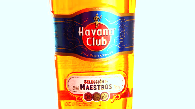 havana, cuba-august 10, 2020: in this illustrative editorial clip, the branding of a havana club 'seleccion de maestros' cuban rum bottle. havana... - editorial stock videos & royalty-free footage