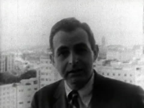 havana, cuba-circa 1959: a news anchor gives conclusions of the situation in cuba after the cuban revolution. he talks of the economy, government,... - 1959 stock videos & royalty-free footage