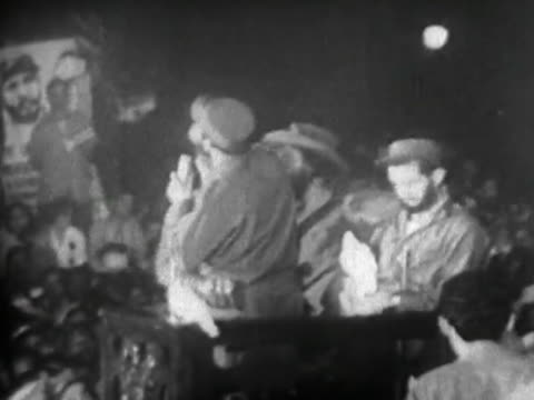havana, cuba-january 8, 1959: historic footage of the first speech of fidel castro after entering the cuban capital. it is known as the white doves... - 1959 stock videos & royalty-free footage