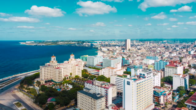 havana time lapse with clouds motion. cuba capital city aerial high point of view from the tallest lookout. skyline of the city with national hotel nacional, malecon and caribbean sea. filmed from focsa building in vedado district. - hotel nacional stock videos and b-roll footage