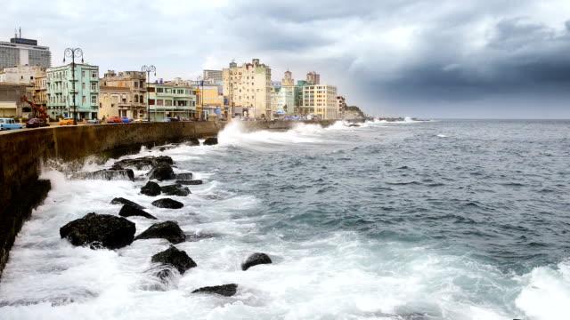 havana's malecon cuba - tropical storm stock videos & royalty-free footage