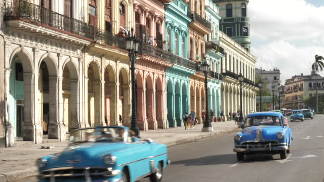 havanna cars in the city - cuba stock videos and b-roll footage