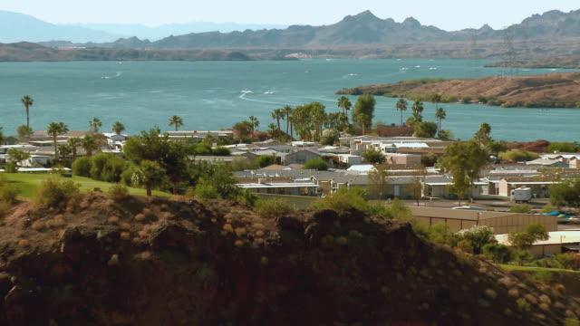 zo, ws, havasu springs resort overlooking lake havasu, lake havasu city, arizona, usa - fan palm tree stock videos & royalty-free footage