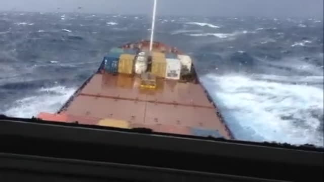 have you ever seen how fascinating a container ship looks when it battles a strong storm? probably not, so you must see it now! one of the men aboard... - atlantic islands stock videos & royalty-free footage
