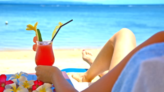 ws ds having a cocktail on the beach - cocktail stock videos & royalty-free footage