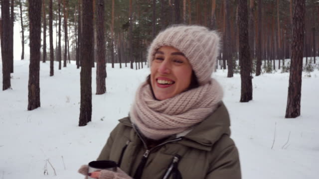 having fun during winter walk in a snowy - mitten stock videos and b-roll footage