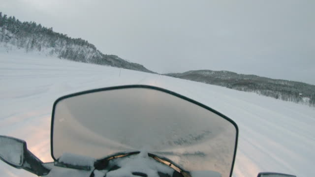 SLO MO POV Having fun speeding on a snowmobile