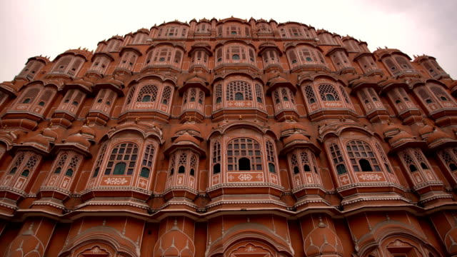 hawa mahal palace or palace of the winds in jaipur city, india. - palace stock videos & royalty-free footage