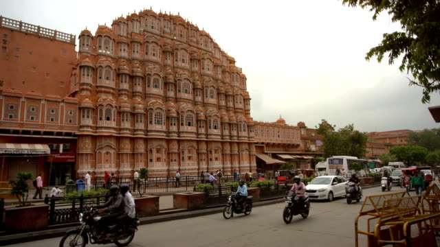 hawa mahal palace or palace of the winds in jaipur city, india. - orange colour stock videos & royalty-free footage