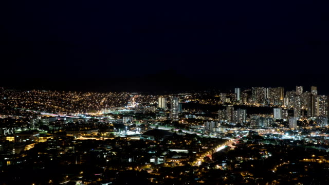 usa hawaii, diamond head tantalus hill and hawaii city buildings panoramic view at night - wide stock videos & royalty-free footage