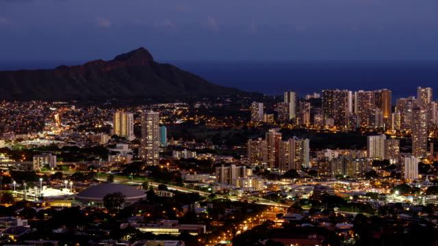 usa hawaii, diamond head tantalus hill and hawaii city buildings panoramic view at night - honolulu stock videos and b-roll footage