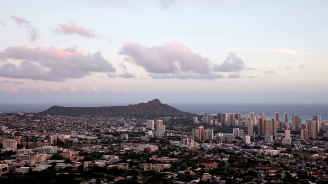 usa hawaii, diamond head tantalus hill and hawaii city buildings panoramic view at sunset - oahu stock videos & royalty-free footage