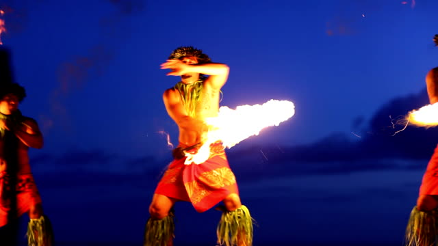 hawaii maui fire dancer- hd montage - north american tribal culture stock videos & royalty-free footage