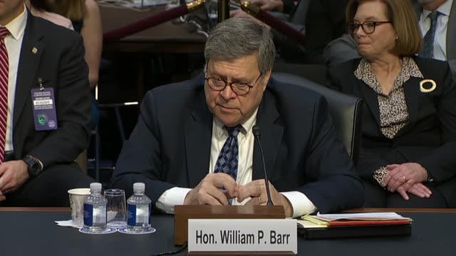 hawaii senator mazie hirono asks attorney general nominee william barr at his confirmation hearing in the senate judiciary committee why he would not... - department of justice stock videos & royalty-free footage