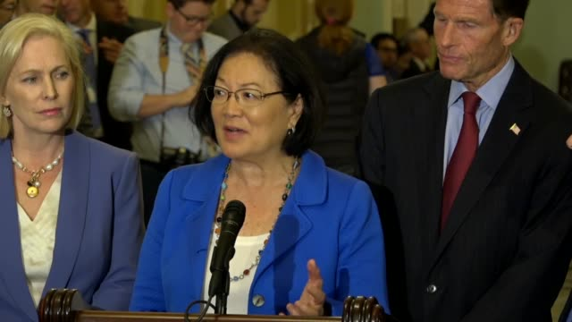 Hawaii Senator Mazie Hirono tells reporters at a press conference days after a sex assault allegation against Supreme Court nominee Judge Brett...