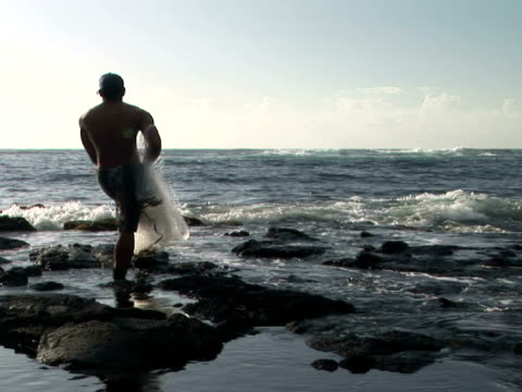 ms usa, hawaii, the big island, punaluu black sand beach park, man with fishing net at ocean shore, rear view - baseballmütze stock-videos und b-roll-filmmaterial