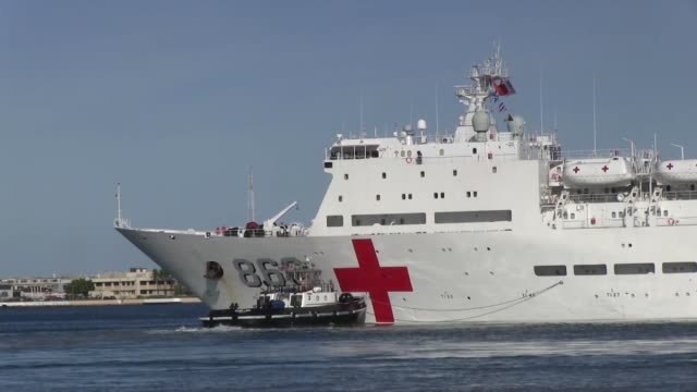 hickam hawaii the people's liberation army hospital ship peace ark departs for the atsea phase of rim of the pacific exercise 2014 - ark stock videos and b-roll footage