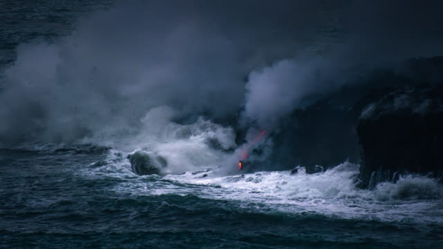 Hawaii Volcanoes National Park Lava Flow into the Pacific Ocean Molten