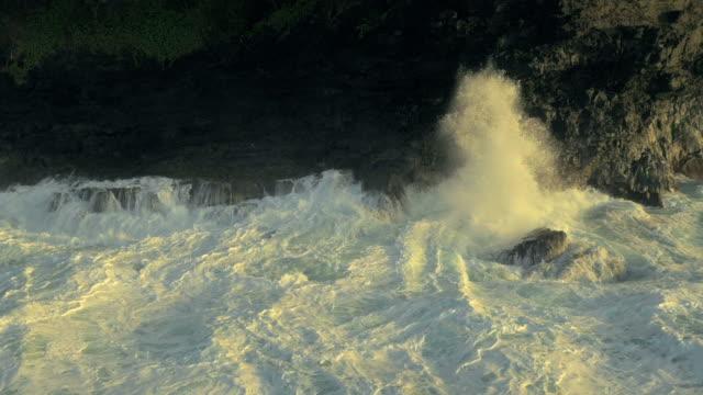 hawaiian ocean waves uav drone aerial shot - fatcamera stock videos & royalty-free footage