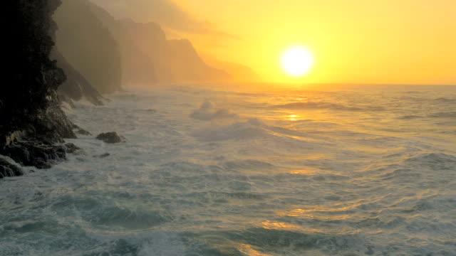 hawaiian ocean waves uav drone aerial shot - hawaii islands stock videos & royalty-free footage