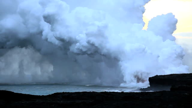 hawaiian volcano kilauea erupts into pacific hd 1920 - kilauea stock videos & royalty-free footage