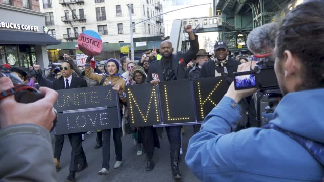 hawk newsome president of black lives matter new york led a rally and march in west harlem in memory of the apostle of nonviolence rev martin luther... - adam clayton powell jr stock videos & royalty-free footage