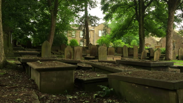 haworth grave yard and parsonage home of the bronte family. - tombstone stock videos & royalty-free footage